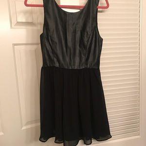 Leather and chiffon dress